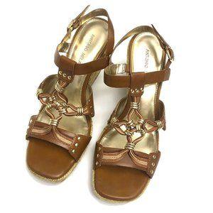 Antonio Melani Brown Strappy Espadrille Sandals